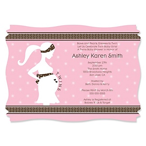 Mommy Silhouette It's Twin Girls - Personalized Baby Shower Invitations
