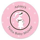 Mommy Silhouette It's Twin Girls - Personalized Baby Shower Round Sticker Labels - 24 Count