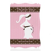 Mommy Silhouette It's Twin Girls - Personalized Baby Shower Thank You Cards