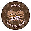 Twin Modern Baby Girls African American - Personalized Baby Shower Sticker Labels - 24 ct
