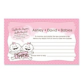 Twin Baby Girls - Personalized Baby Shower Helpful Hint Advice Cards - 18 ct.