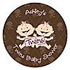 Twin Modern Baby Girls Caucasian - Personalized Baby Shower Sticker Labels - 24 ct