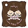 Twin Modern Baby Girls Caucasian  - Personalized Baby Shower Tags - 20 ct