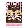 Twin Modern Baby Girls Caucasian - Personalized Baby Shower Thank You Cards