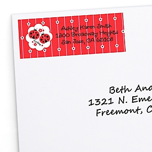 Twin Modern Ladybugs - Personalized Baby Shower Return Address Labels - 30 ct