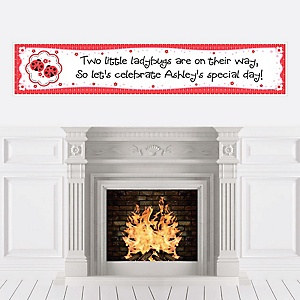 Twin Modern Ladybugs - Personalized Baby Shower Banners