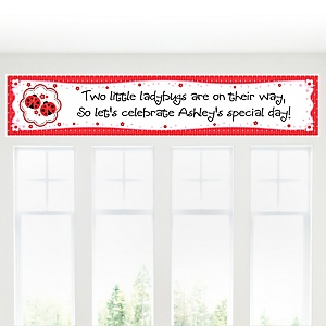 Twin Modern Ladybugs - Personalized Baby Shower Banner