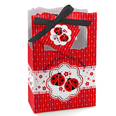 Twin Modern Ladybugs - Personalized Baby Shower Favor Boxes...