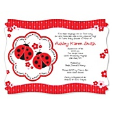 Twin Modern Ladybugs - Personalized Baby Shower Invitations