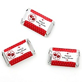 Twin Modern Ladybugs - Personalized Baby Shower Mini Candy Bar Wrapper Favors - 20 ct