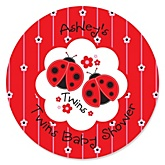 Twin Modern Ladybugs - Personalized Baby Shower Round Sticker Labels - 24 Count