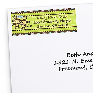 Twin Monkeys 1 Boy & 1 Girl - Personalized Baby Shower Return Address Labels - 30 Count