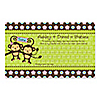 Twin Monkeys 1 Boy & 1 Girl - Personalized Baby Shower Helpful Hint Advice Cards