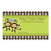 Twin Monkeys 1 Boy & 1 Girl - Personalized Baby Shower Helpful Hint Advice Cards - 18 ct.