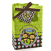 Twin Monkeys 1 Boy & 1 Girl - Personalized Baby Shower Favor Boxes