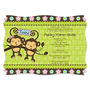Twin Monkeys 1 Boy & 1 Girl - Personalized Baby Shower Invitations