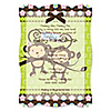 Twin Monkeys 1 Boy & 1 Girl - Personalized Baby Shower Vellum Overlay Invitations