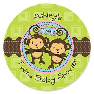Twin Monkeys 1 Boy & 1 Girl - Personalized Baby Shower Sticker Labels - 24 ct
