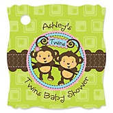 Twin Monkeys 1 Boy & 1 Girl - Personalized Baby Shower Tags - 20 Count