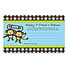 Twin Monkey Boys - Personalized Baby Shower Helpful Hint Advice Cards
