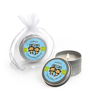 Twin Monkey Boys - Candle Tin Personalized Baby Shower Favors