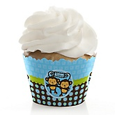 Twin Monkey Boys - Baby Shower Cupcake Wrappers & Decorations