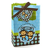 Blue Twin Monkey Boys - Personalized Baby Shower Favor Boxes