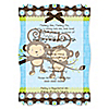 Twin Monkey Boys - Personalized Baby Shower Vellum Overlay Invitations