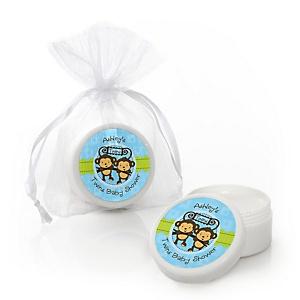 Twin Monkey Boys - Personalized Baby Shower Lip Balm Favors