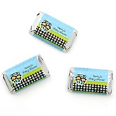 Blue Twin Monkey Boys - Personalized Baby Shower Mini Candy Bar Wrapper Favors - 20 ct