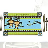 Blue Twin Monkey Boys - Personalized Baby Shower Placemats