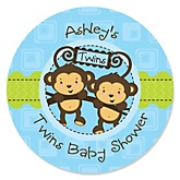 Twin Monkey Boys - Personalized Baby Shower Round Sticker Labels - 24 Count