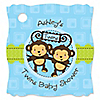 Twin Monkey Boys - Personalized Baby Shower Tags - 20 ct