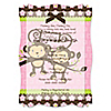 Twin Monkey Girls - Personalized Baby Shower Vellum Overlay Invitations