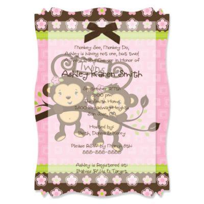 twin monkey girls baby shower vellum overlay invitations