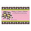 Twin Monkey Girls- Personalized Baby Shower Helpful Hint Advice Cards