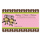 Twin Monkey Girls- Personalized Baby Shower Helpful Hint Advice Cards - 18 ct.