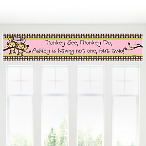 Twin Monkey Girls - Personalized Baby Shower Banners