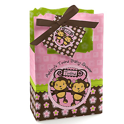 Twin Monkey Girls - Personalized Baby Shower Favor Boxes...