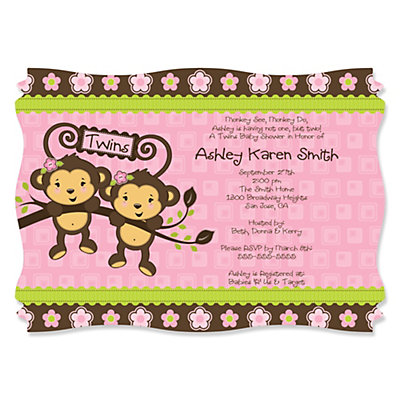 Twin Monkey Girls - Baby Shower Invitations With Squiggle Shape Baby Shower Party Supplies