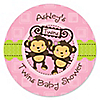 Twin Monkey Girls - Personalized Baby Shower Sticker Labels - 24 ct