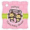 Twin Monkey Girls - Personalized Baby Shower Tags - 20 ct