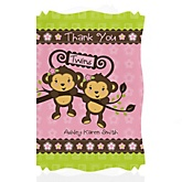Twin Monkey Girls - Personalized Baby Shower Thank You Cards