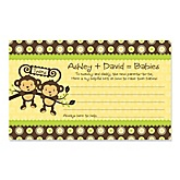Twin Monkeys Neutral - Baby Shower Helpful Hint Advice Cards Game - 18 Count