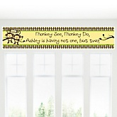 Twin Monkeys Neutral - Personalized Baby Shower Banner
