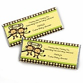 Twin Monkeys Neutral - Personalized Baby Shower Candy Bar Wrapper