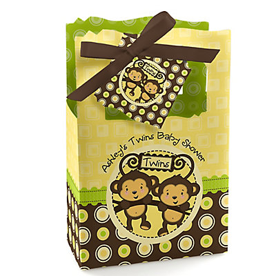 Twin Monkeys Neutral - Personalized Baby Shower Favor Boxes...