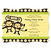 Twin Monkeys Neutral - Personalized Baby Shower Invitations
