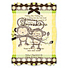 Twin Monkeys Neutral - Personalized Baby Shower Vellum Overlay Invitations