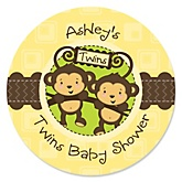 Twin Monkeys Neutral - Personalized Baby Shower Round Sticker Labels - 24 Count